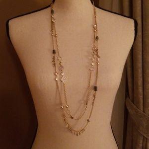 Ann Taylor Loft Double Strand Gold Tone Necklace